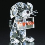 puppy gram crystal figurine