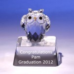 Engraved owl crystal figurine for graduation