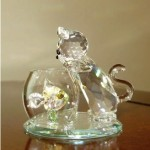 &quot;Curious Cat&quot; crystal figurine from Crystal World.